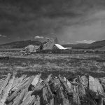 16. DHCA-SierraVly4-269-18-Fence-Posts-&-Collapsed-Filippini-Barn-BW