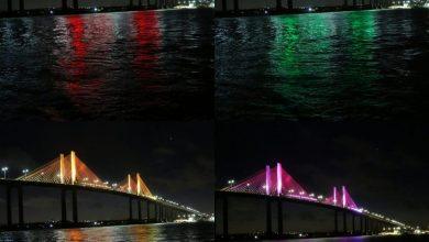 Ponte Newton Navarro foi um dos pontos iluminados pela Prefeitura de Natal (Foto: Alex Régis/Divulgação/Prefeitura de Natal)
