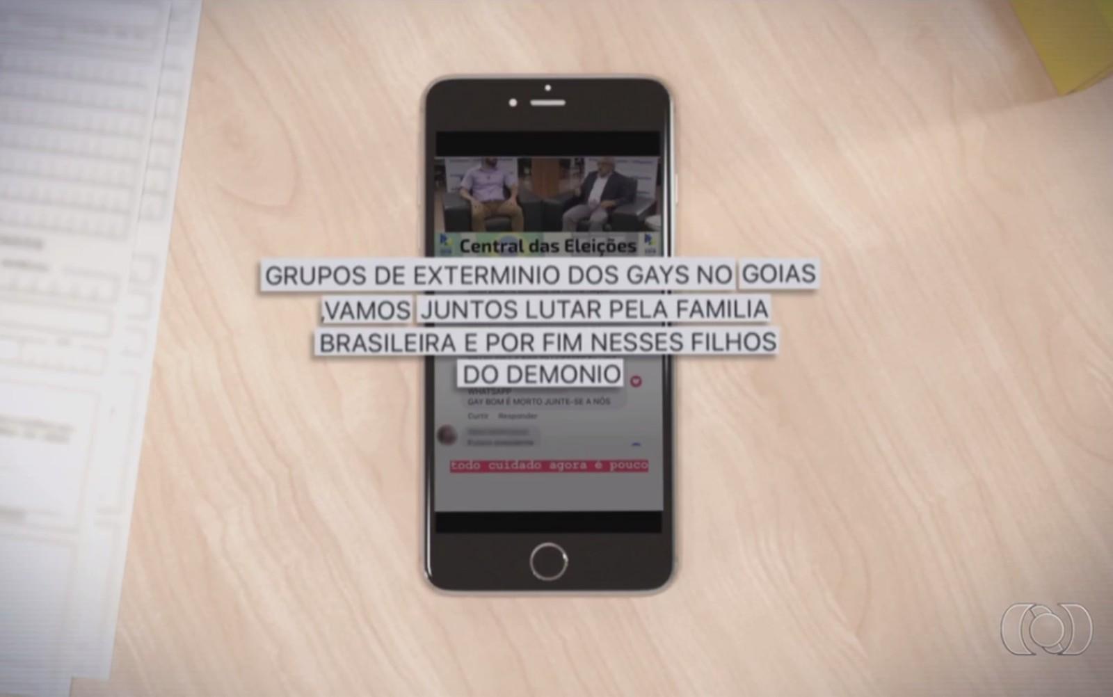 Mensagem em rede social cita de grupos de extermínio contra pessoas LGBT. (Foto: Reprodução/ TV Anhanguera)
