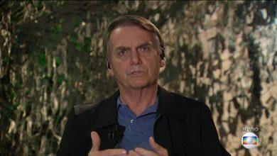 Jair Bolsonaro (PSL) durante entrevista ao Jornal Nacional. (Foto: Reprodução/TV Globo)