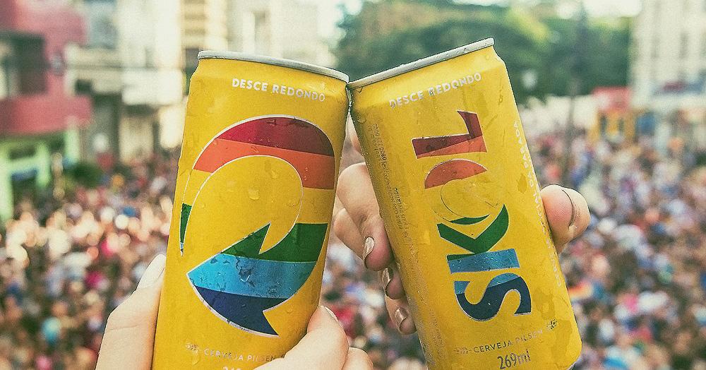 Latinhas da Skol as cores do arco-íris. (Foto: Divulgação)