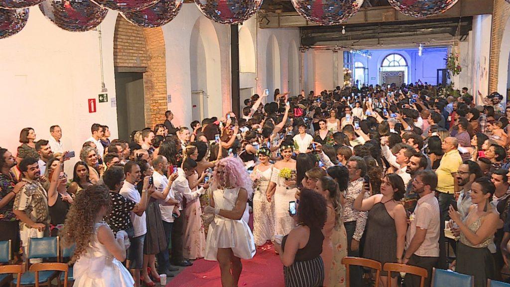 A cerimônia foi realizada de forma colaborativa por voluntárias, voluntários e empresas parceiras. (Foto: Reprodução/TV Globo)