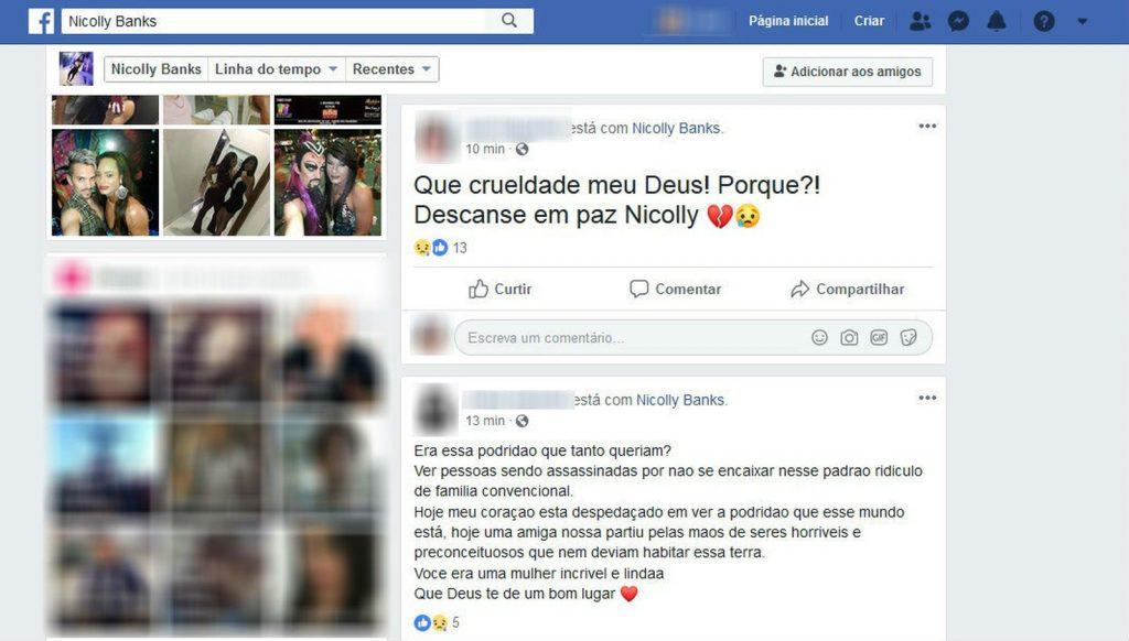 Amigos compartilham mensagens de luto na página de Nicolly. (Foto: Reprodução/Facebook)
