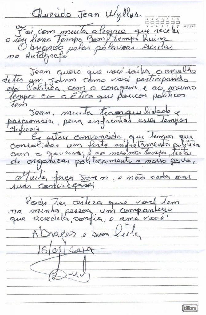 Carta escrita por Lula para Jean Wyllys. (Foto: Reprodução/Twitter)