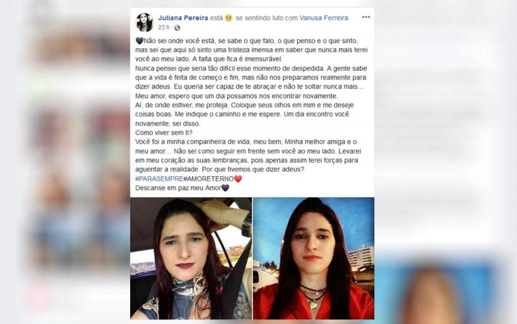 Namorada faz declaração a motorista de aplicativo morta após corrida. (Foto: Reprodução/Facebook)