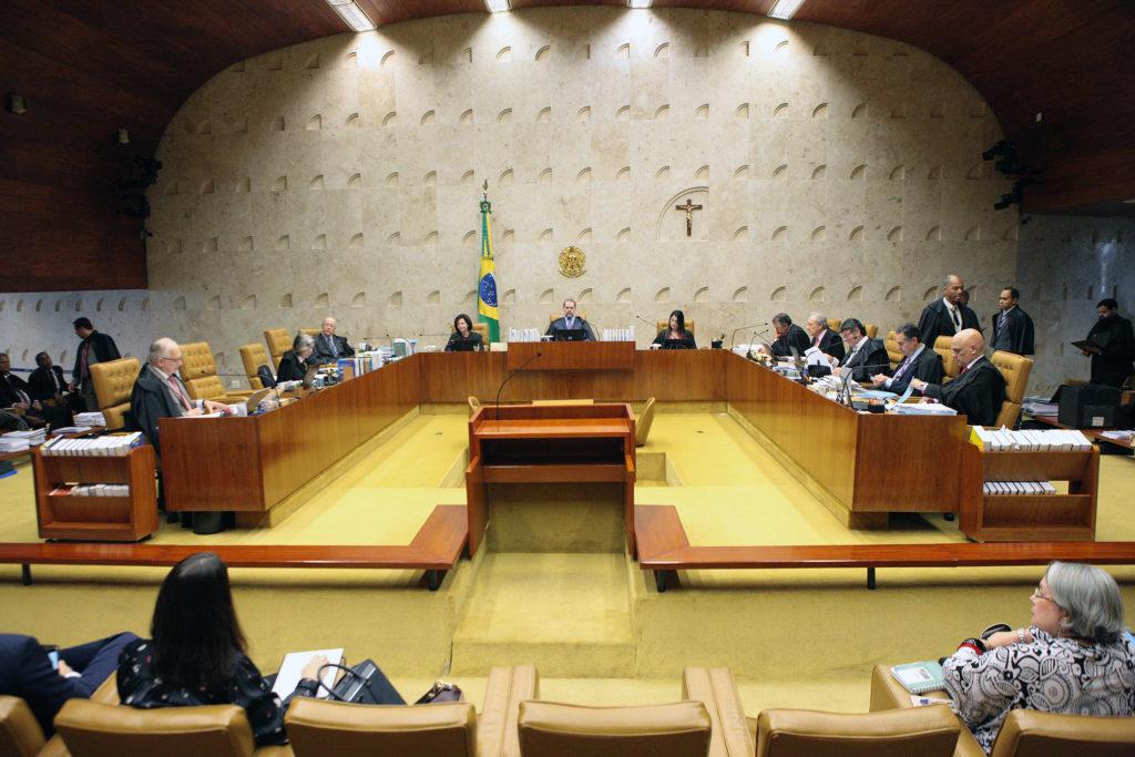 Os 11 ministros do Supremo Tribunal Federal reunidos em plenário durante julgamento sobre a criminalização da LGBTfobia. (Foto: Carlos Moura/Supremo Tribunal Federal)
