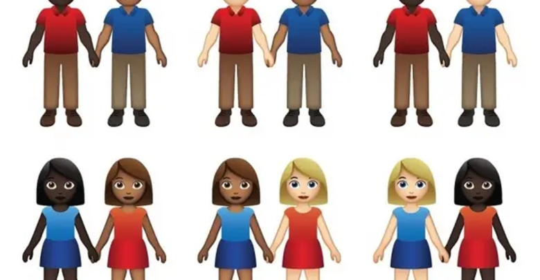 Aplicativo de relacionamento anuncia emojis com casais inter-raciais do mesmo sexo para promover diversidade. (Foto: Divulgação/Tinder)