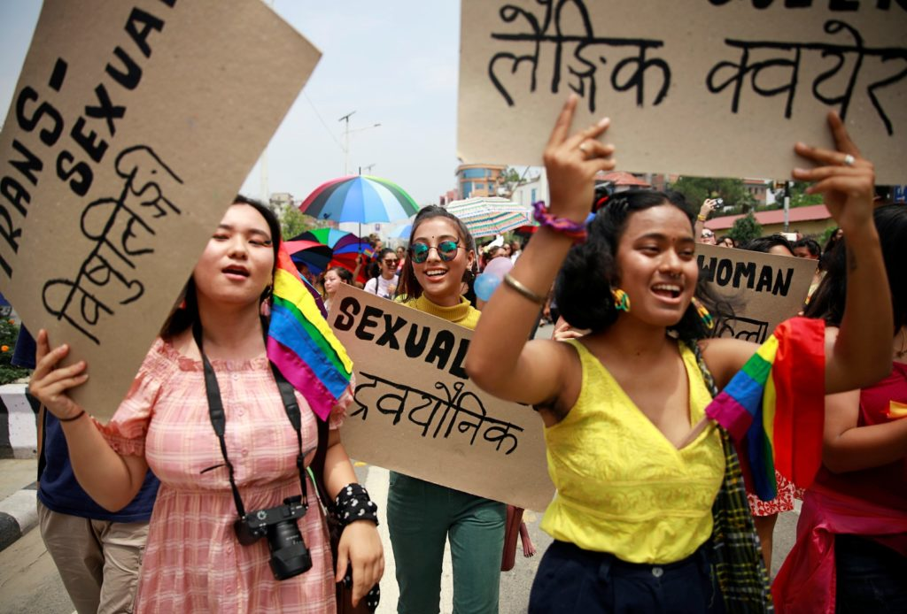 Parada do Orgulho LGBT em Katmandu, no Nepal. (Foto: Navesh Chitrakar/Reuters)