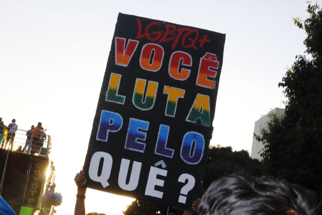 Participante carrega cartaz durante 22ª Parada LGBTS de Brasília. Foto: Ernane Queiroz/Gay1)