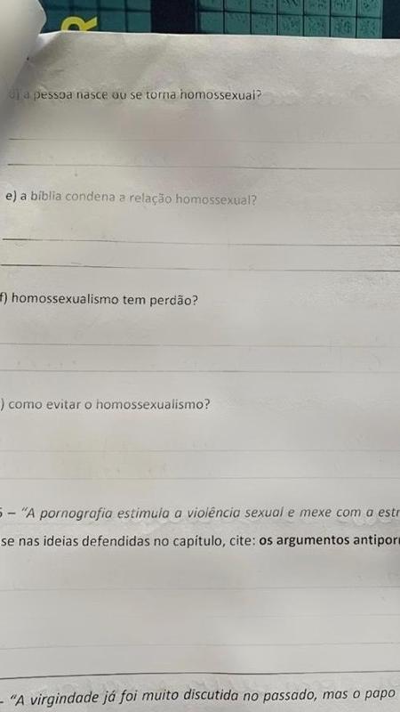 Alunos ficaram revoltados com perguntas feitas em prova. (Foto: Arquivo Pessoal)