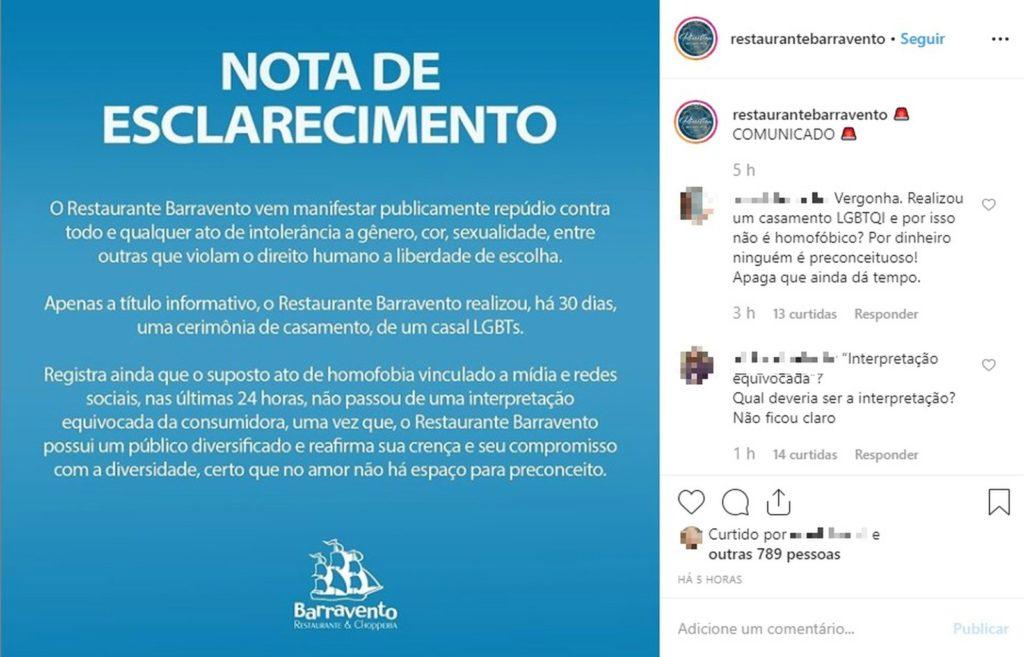 Restaurante publicou nota de esclarecimento e depois apagou. (Foto: Reprodução/Instagram)
