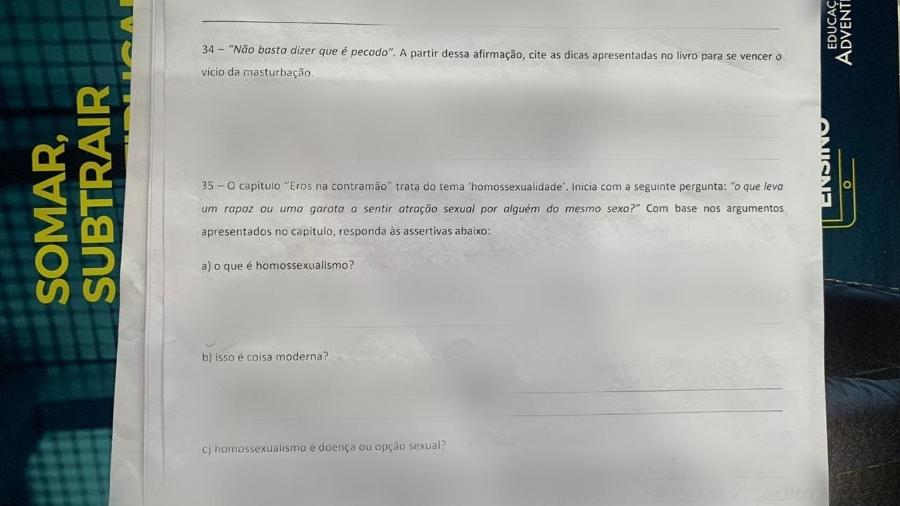 Prova com questões homofóbicas em escola no Pará. (Foto: Arquivo Pessoal)