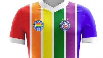 Com apoio do clube, torcida faz camisa LGBT para o Bahia. (Foto: Reprodução/Twitter)