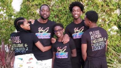 Dwyane Wade com a esposa e filhos vestidos com blusa de uma campanha criada pelo atleta por uma educação mais inclusiva com renda revertida para ong que luta pelos direitos LGBT. (Foto: Reprodução/Instagram)