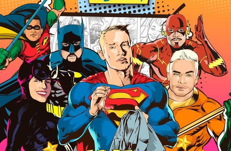 Line up de super heróis com Ben Bakson (Super man), Van Müller (Mulher gato), Thiago Costa (Batman), Maycon Reis (Robin), Léo Nogueira (Aquaman) e Fábio Dias (Flash).