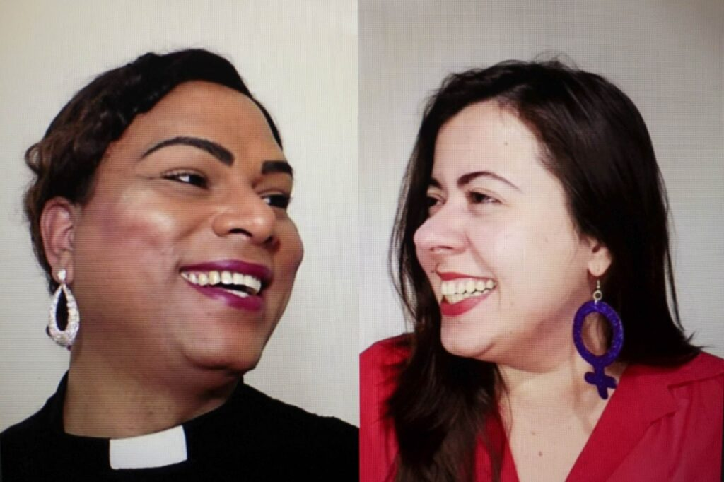Reverenda Alexya Salvador, à esquerda, é pré-candidata à vice-prefeitura de São Paulo, em chapa com Sâmia Bonfim, à direita. (Foto: Reprodução/Facebook)