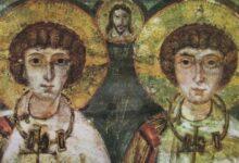 Imagem dos santos Sérgio e Baco, datada do século 7. (Foto: Reprodução/BBC)