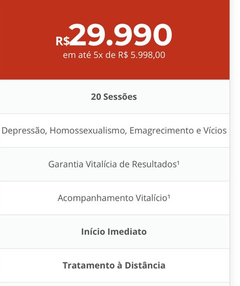 Anúncio em site de clínica de hipnose no DF oferece tratamento para o 'homossexualismo'. (Foto: Hipnoticus/Reprodução)