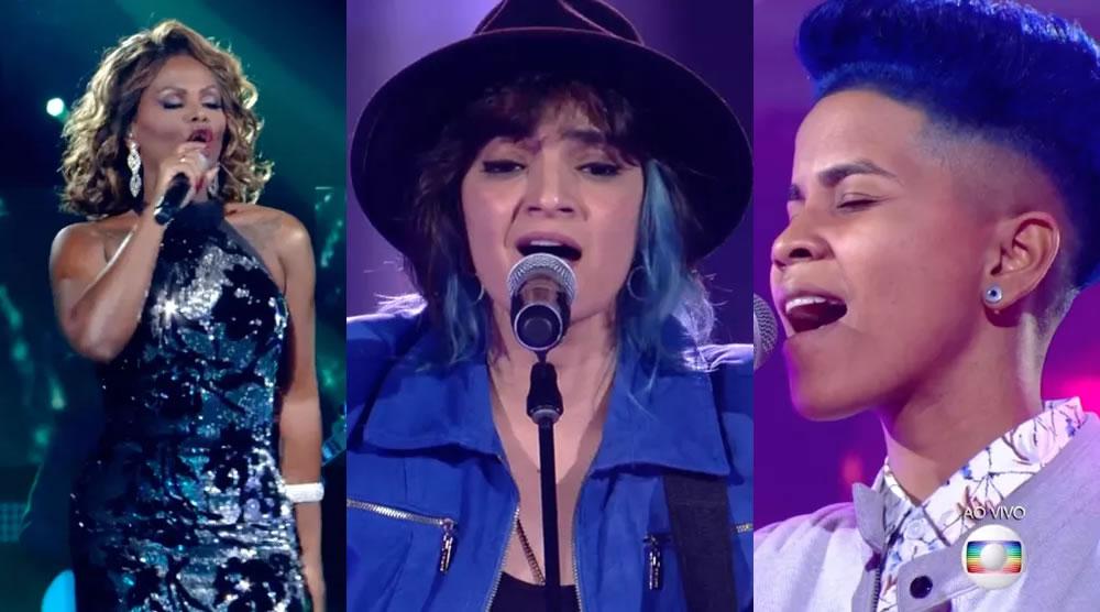Diva Menner, Larissa Vitorino e Ed Souza durante a semifinal do The Voice Brasil. (Foto: Reprodução/TV Globo)