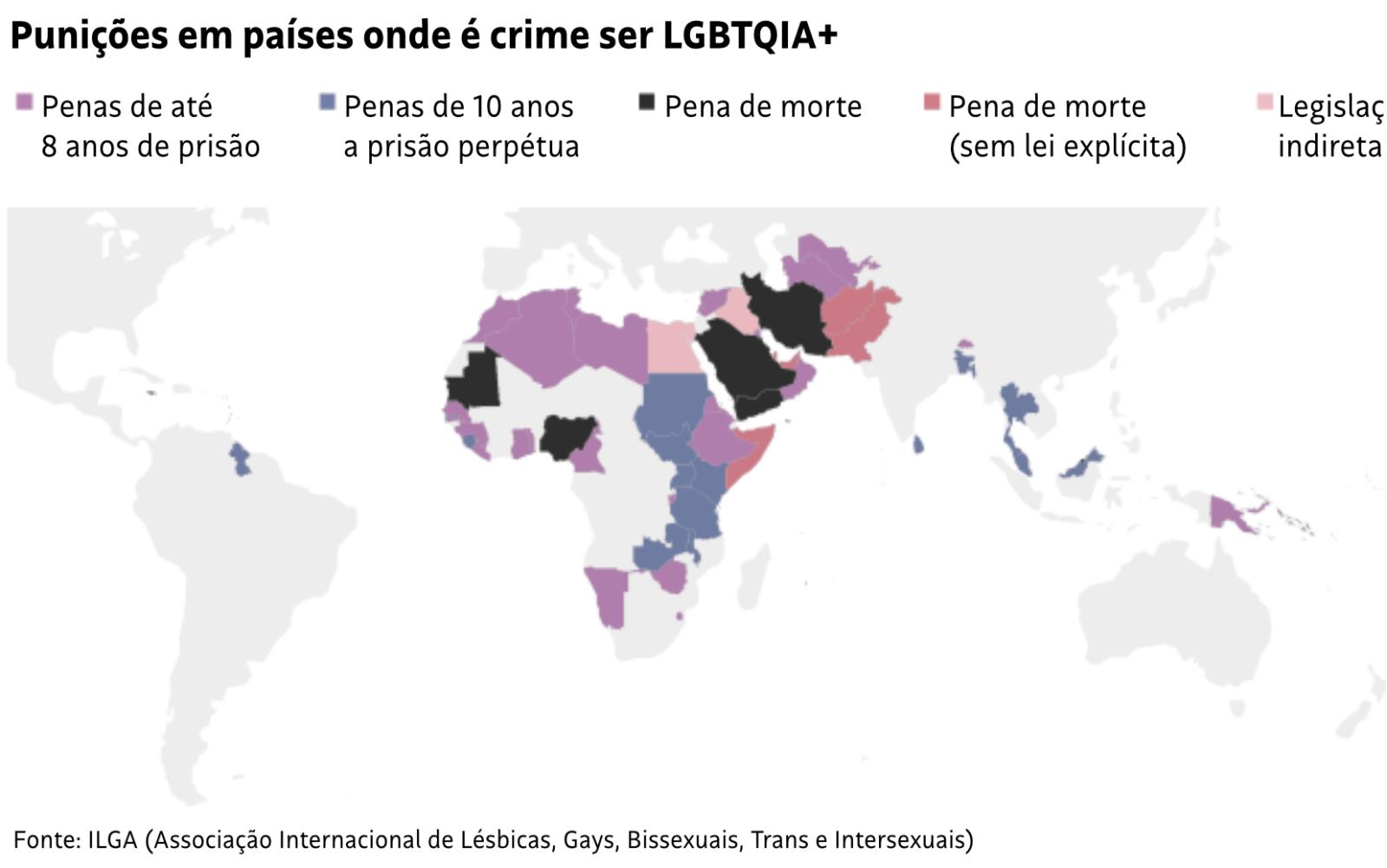 Punições em países onde é crime ser LGBTQIA+. Fonte: ILGA (Associação Internacional de Lésbicas, Gays, Bissexuais, Trans e Intersexuais)