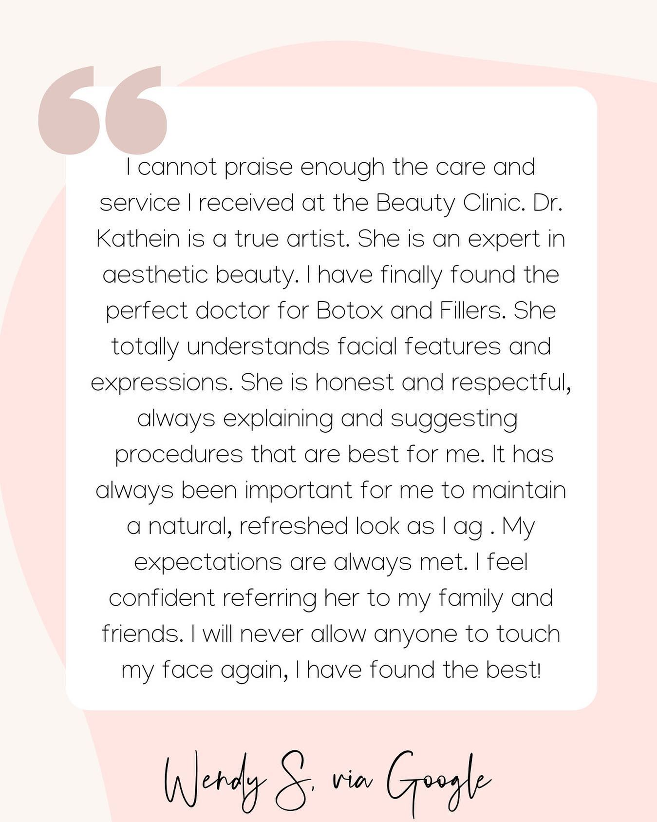 I cannot praise enough the care and service I received at the Beauty Clinic.