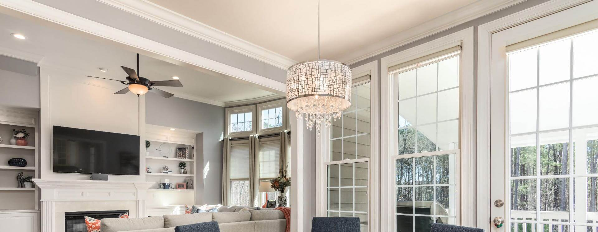 Interior of an elegant house with a small chandelier.