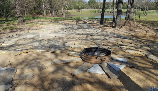 fire-pit and flagstone setting
