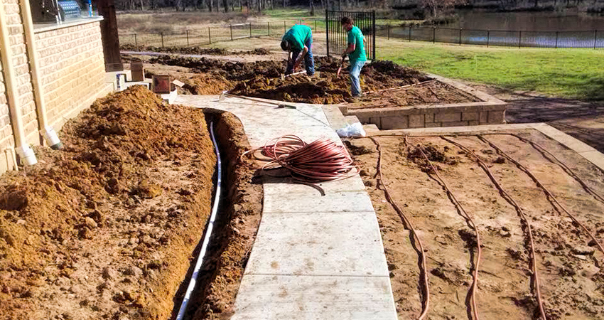Laying irrigation lines