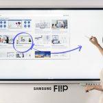 Woman using digital white board