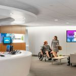 Hospital and TV marketing in a waiting room