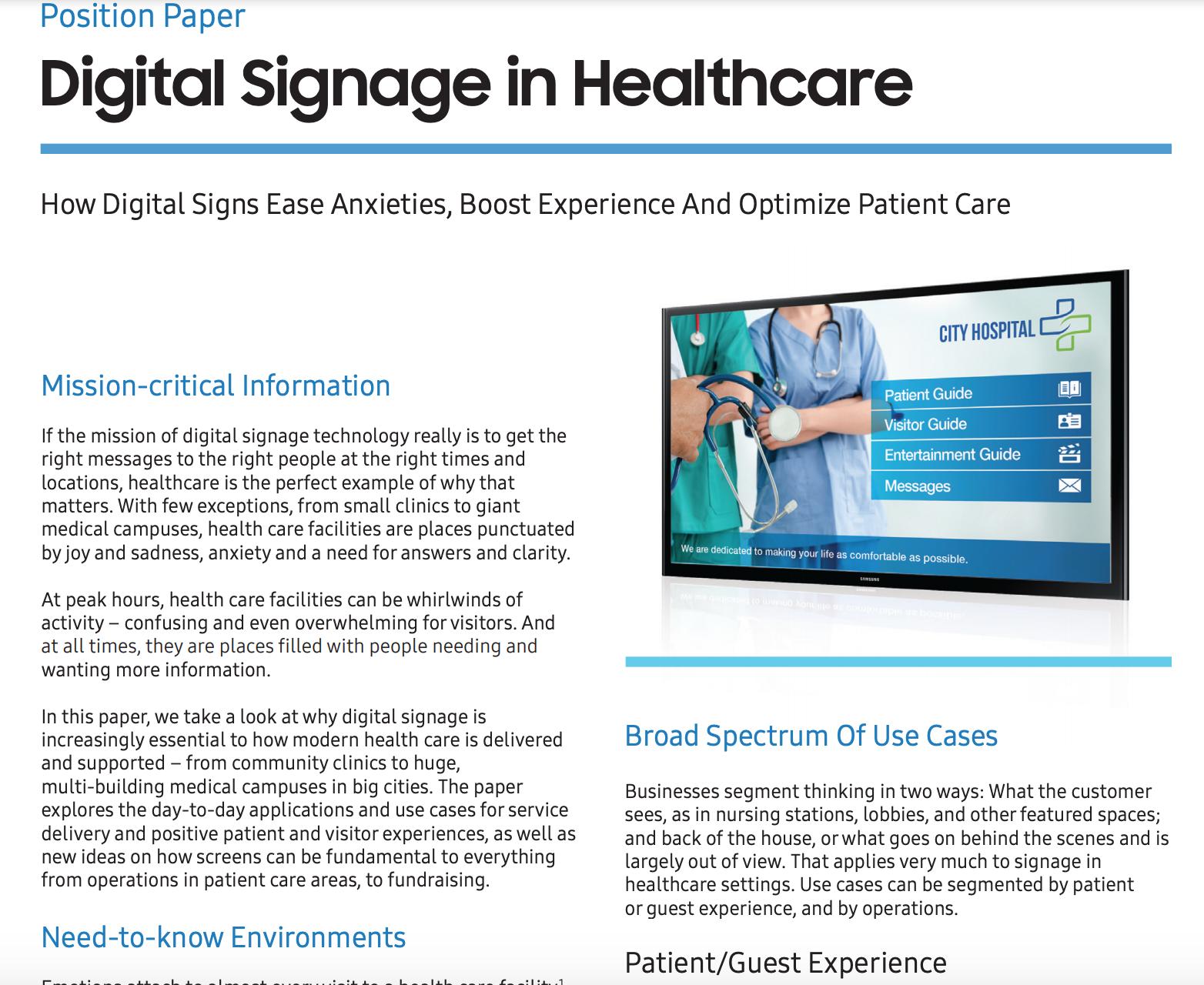 Digital Signage in Healthcare