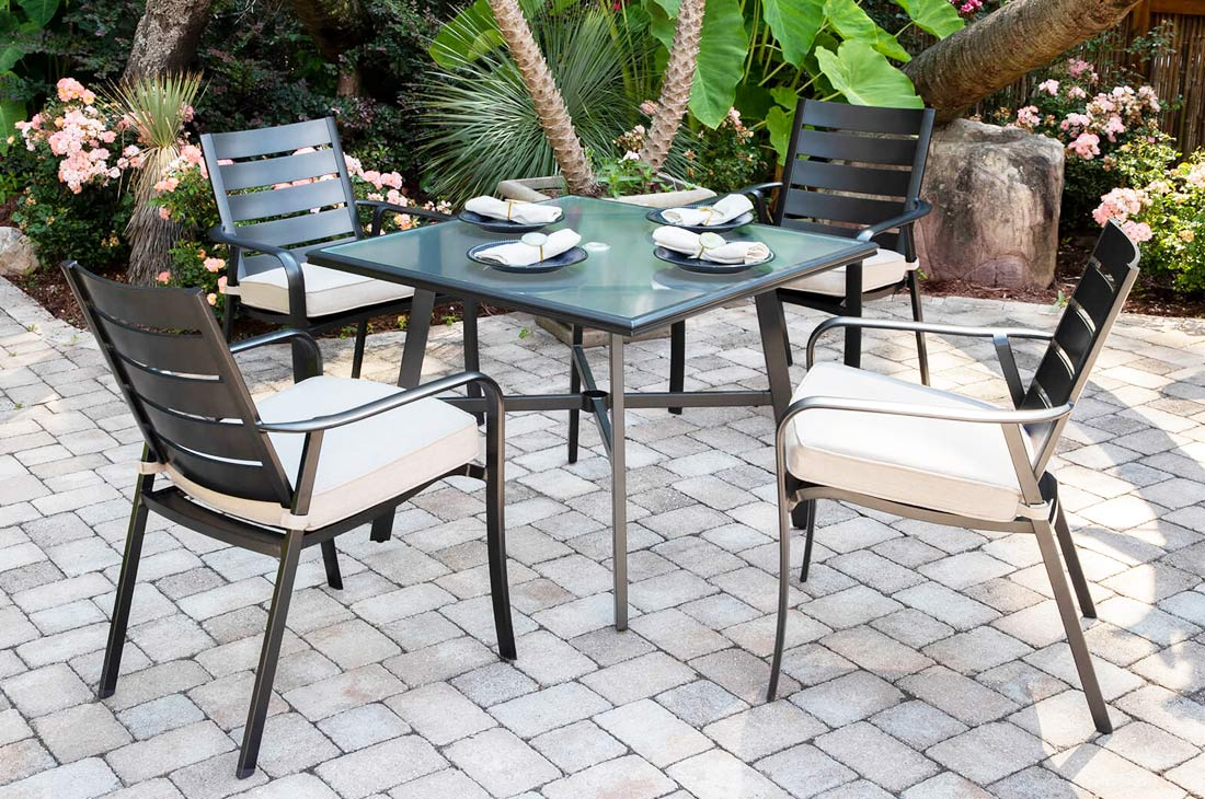 Commercial lOutdoor Furniture: Fairhill chairs and table