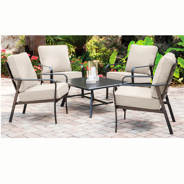 View of outdoor furniture,4 chairs and a table