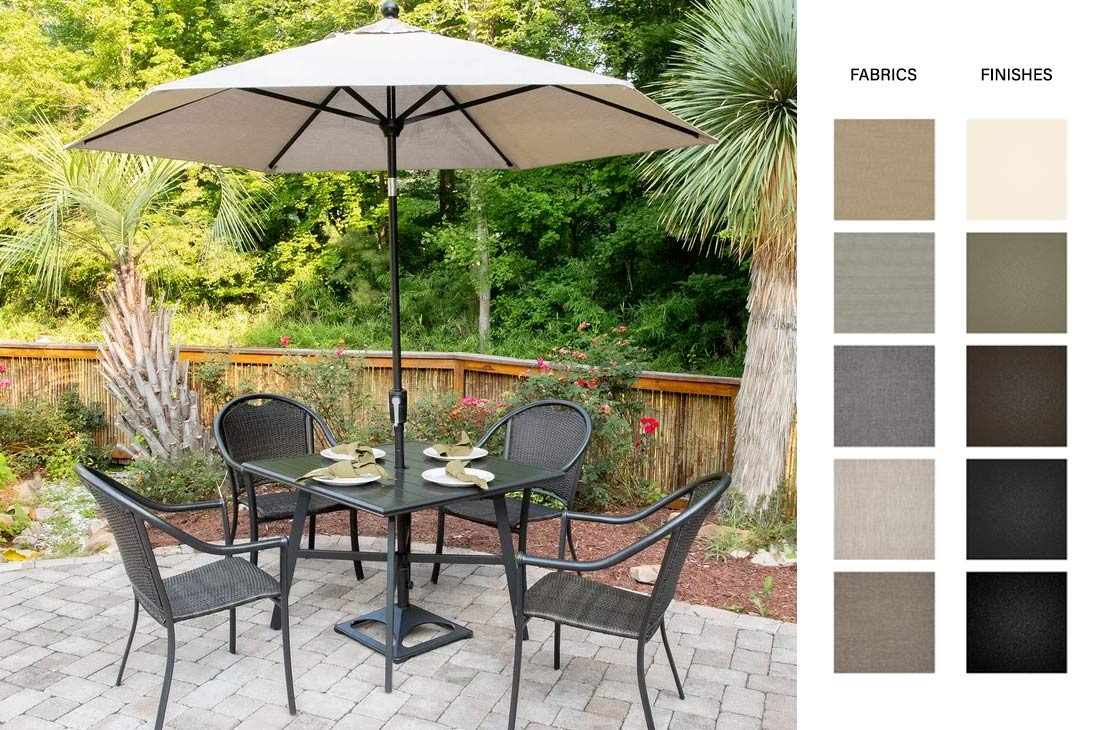 outdoor furniture - chairs, umbrella, table with umberlla color swatches