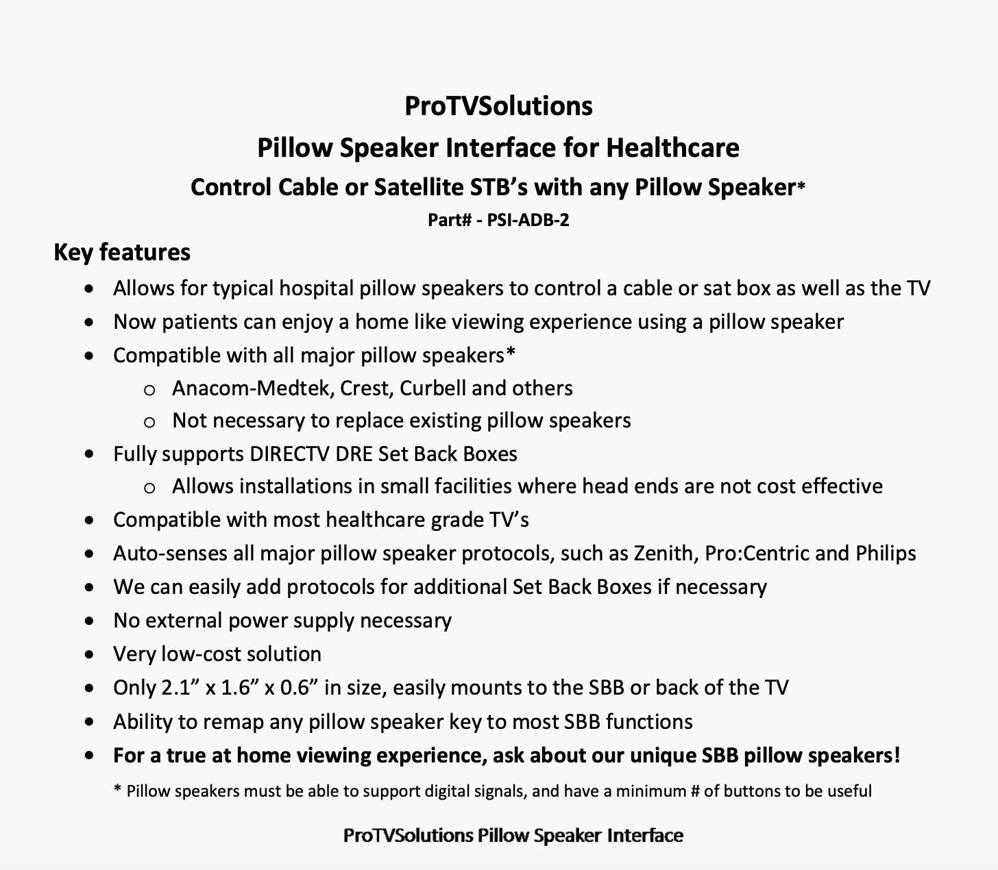ProTVSolutions Pillow Speaker Interface for Healthcare Control Cable or Satellite STB's with any Pillow Speaker*