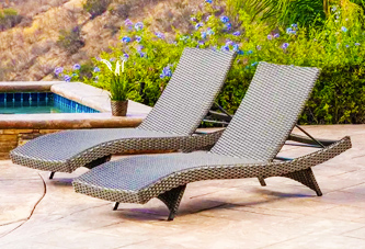 View of two pieces of commercial outdoor furniture