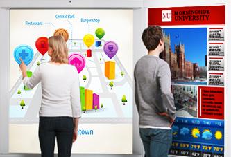 View of individual's using digital signage