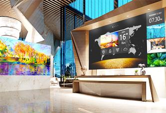 View of a lobby utilizing digital signage