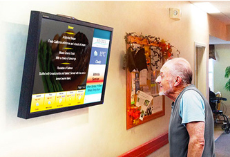 An older man viewing TV & Internet Senior Living
