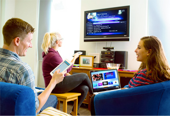 TV & Internet for Student Housing being used by three students