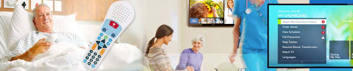 View of patients using the Samsung Healthcare TV and remote