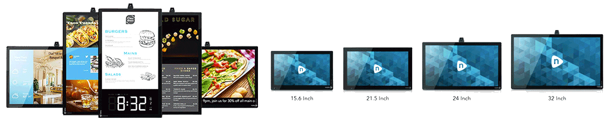 View of the variety of digital signage