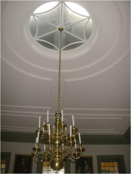 detail inside Redwood Library, Civic Palladian architecture, Newport, RI, Peter Harrison, 1742