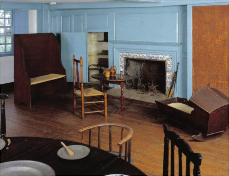 """Large fireplaces served as the center of family life, exemplifying the idea of """"home and hearth"""" in the early buildings of the Newport settlement."""