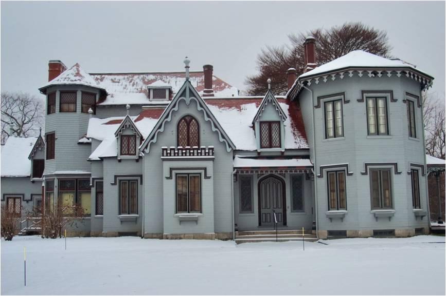 richard upjohn, kingscote, gothic revival style architecture, newport, ri