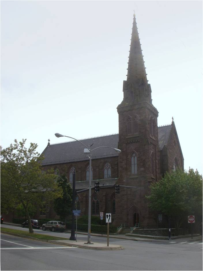 Religious Gothic Revival style architecture, St. Mary's Church, Newport, RI, Patrick Keeley