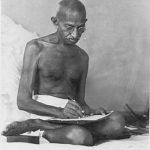 Writing Document at Birla House, Bombay (1942)
