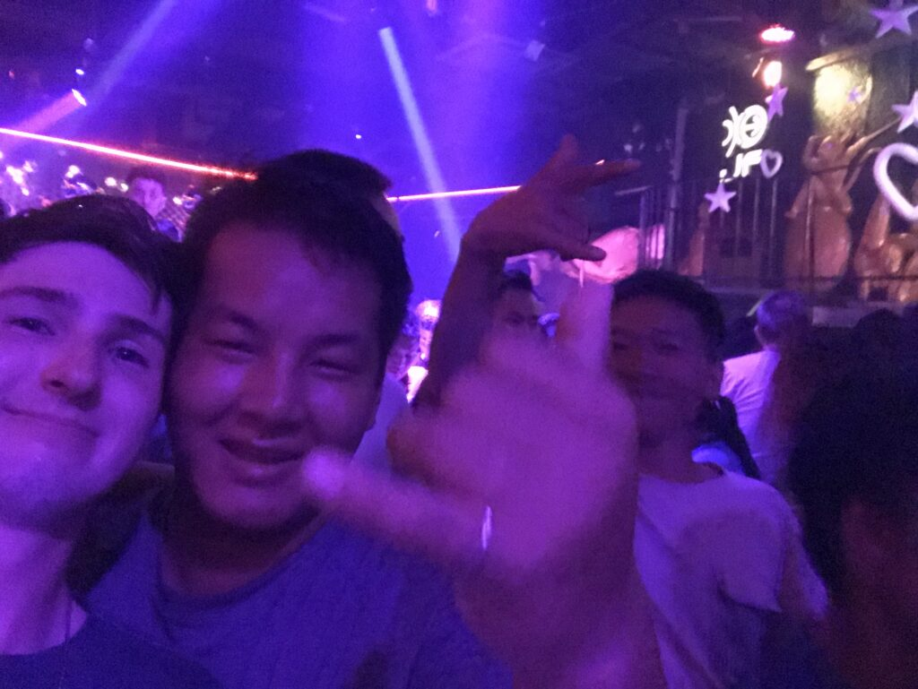 Making friends on a night out in Lan Kwai Fong.