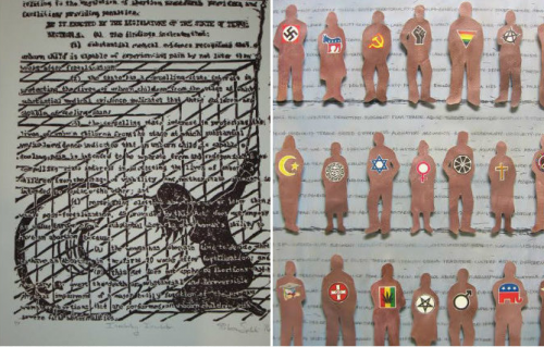 """Involuntary Incubator"" by Rebecca Spilecki (left), ""The Usual Suspects"" by Barbra Whitten (right)."