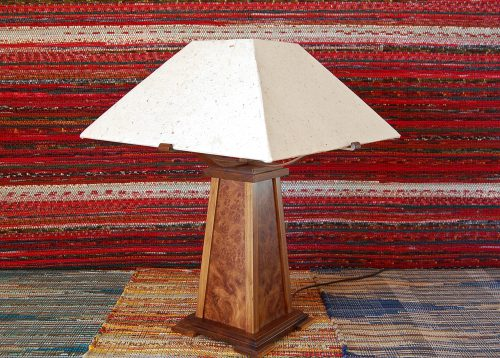 Walnut burl lamp by Louis Charlett of Charlett Woodworking